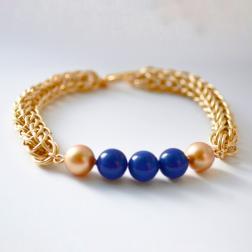Swarovski Crystal Pearls-Chainmaille-Bracelet